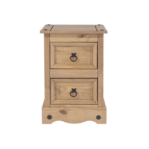 Corona Pine Petite Small 2 Drawer Bedside Cabinet-corona petite bedside-core products-GoFurn Furniture Store Kent