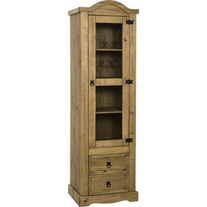 Corona Pine 1 Door 2 Drawer Glass Display Unit-pine display unit-Seconique-GoFurn Furniture Store Kent