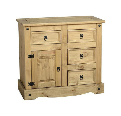Corona Pine 1 Door 4 Drawer Sideboard-Corona Sideboards-Seconique-GoFurn Furniture Store Kent