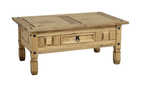 Corona Pine 1 Drawer Coffee Table-Pine Coffee Table-Seconique-GoFurn Furniture Store Kent
