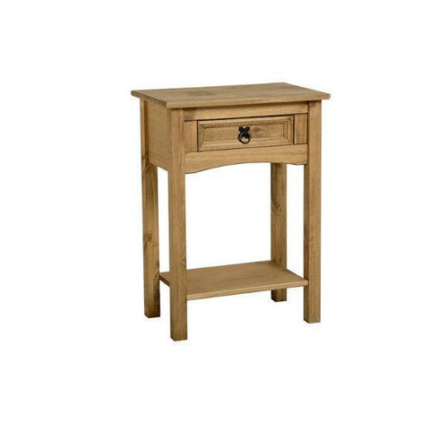 Corona Pine 1 Drawer Console Table With Shelf-pine hall Console Tables-Seconique-GoFurn Furniture Store Kent