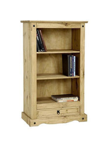 Corona Pine 1 Drawer Low Bookcase-Bookcases-Seconique-GoFurn Furniture Store Kent