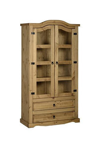 Corona Pine 2 Door 2 Drawer Glass Display Unit-pine display unit-Seconique-GoFurn Furniture Store Kent