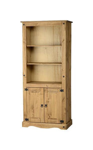 Corona Pine 2 Door Display Unit Bookcase-corona pine Bookcases-Seconique-GoFurn Furniture Store Kent