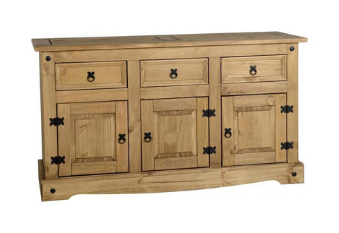 Corona Pine 3 Door 3 drawer Sideboard-corona Sideboards-Seconique-GoFurn Furniture Store Kent