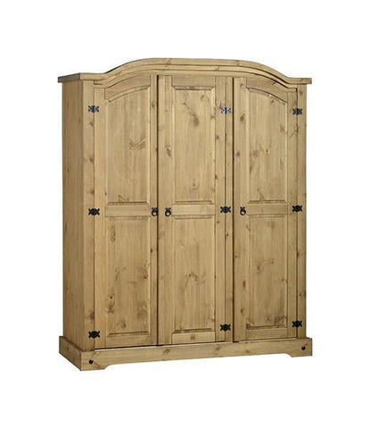 Corona Pine 3 Door Wardrobe-Corona Wardrobes-Seconique-GoFurn Furniture Store Kent