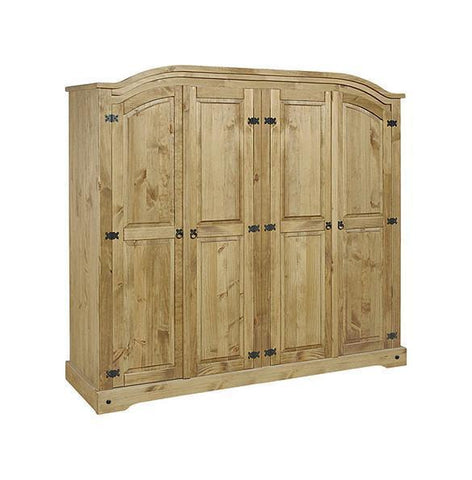 Corona Pine 4 Door Wardrobe-Corona pine Wardrobes-Seconique-GoFurn Furniture Store Kent