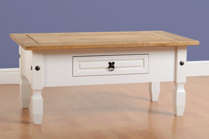Corona Pine and White 1 Drawer Coffee Table-Coffee Table-Seconique-GoFurn Furniture Store Kent