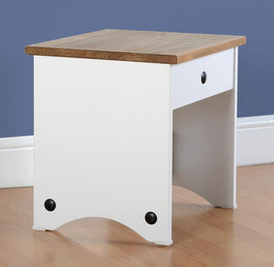 Corona Pine and White Dressing Table Stool-Dressing Tables-Seconique-GoFurn Furniture Store Kent