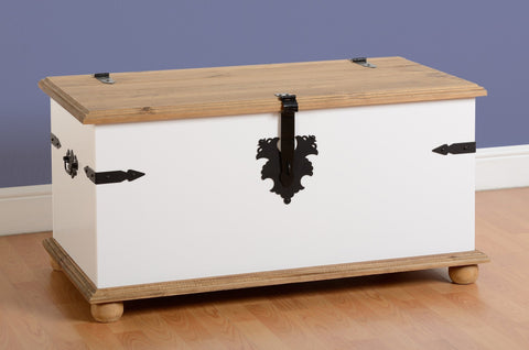 Corona Pine and White Single Coffee Table Storage Chest-Storage toy Chests Ottomans-Seconique-GoFurn Furniture Store Kent