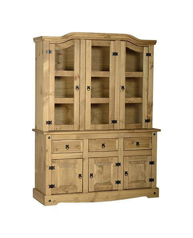 Corona Pine Buffet Hutch Sideboard 4'6'-Pine Dresser Buffet Hutch-Seconique-GoFurn Furniture Store Kent