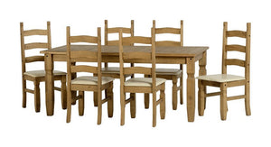 Corona Pine Extending Dining Set with 4 or 6 Chairs-Corona Dining Sets-Seconique-Table with 6 Cream Chairs-GoFurn Furniture Store Kent
