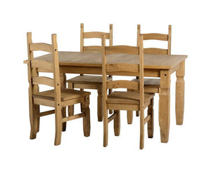 Corona Pine Fixed Top Dining Set with 4 Chairs-Corona Dining Sets Pine-Seconique-Set 4 Wood Chairs-GoFurn Furniture Store Kent