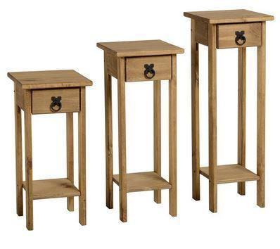 Corona Pine Set of 3 Wooden Stands-side hall Tables-Seconique-GoFurn Furniture Store Kent
