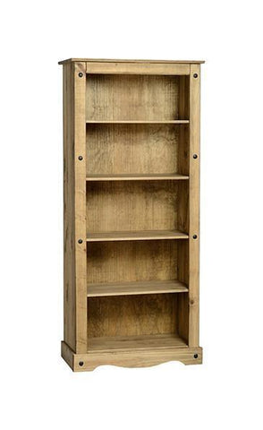 Corona Pine Tall Bookcase-Bookcases-Seconique-GoFurn Furniture Store Kent