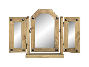 Corona Pine Triple Mirror-Mirrors-Seconique-GoFurn Furniture Store Kent
