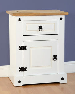 Corona White and Pine 1 Drawer 1 Door Bedside Cabinet-White Bedside Cabinets-Seconique-GoFurn Furniture Store Kent