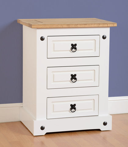 Corona White and Pine 3 Drawer Bedside Cabinet-White Bedside Cabinets-Seconique-GoFurn Furniture Store Kent