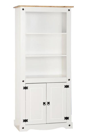 Corona White Distressed Pine 2 Door Display Unit-Bookcases display units-Seconique-GoFurn Furniture Store Kent