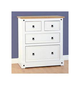 Corona White/Distressed 2 +2 Chest of Drawers-white pine chest of drawers-Seconique-GoFurn Furniture Store Kent