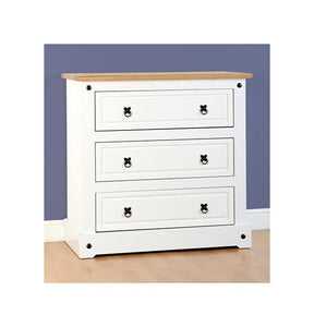Corona White/Distressed 3 Drawer Chest of Drawers-Drawer Chests-Seconique-GoFurn Furniture Store Kent