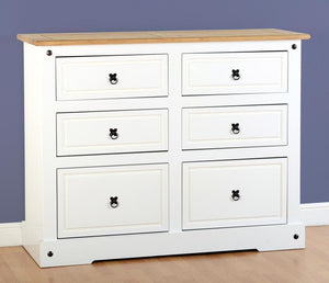 Corona White/Distressed 6 Drawer Chest of Drawers-corona wide Drawer Chests-Seconique-GoFurn Furniture Store Kent