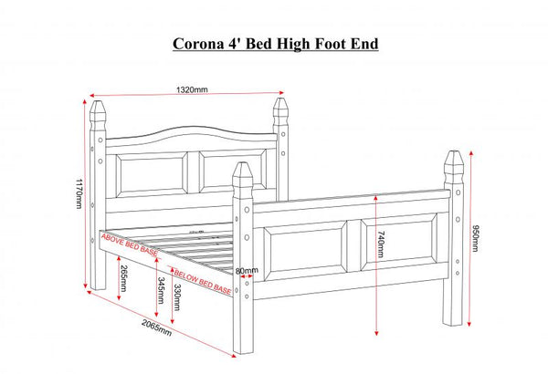corona small double 4 ft bed measurements