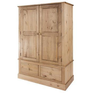 Cotswold Pine 2 Door 2 Drawer Wide Wardrobe-Pine Wardrobes-core products-GoFurn Furniture Store Kent