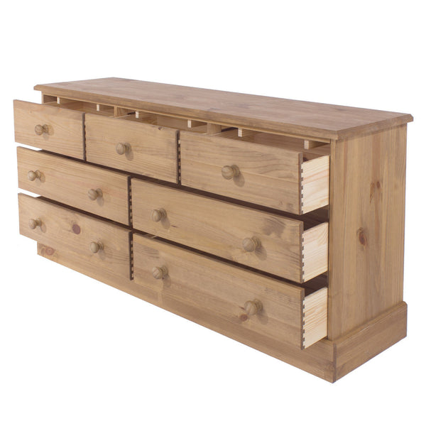 Cotswold Pine 3+4 Drawer Large Chest of Drawers-Pine Chest Of Drawers-core products-GoFurn Furniture Store Kent