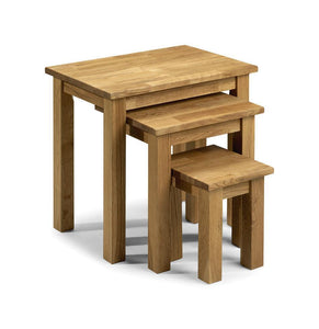 Coxmoor Oak Nest Of Tables-oak nest of tables-Julian Bowen-GoFurn Furniture Store Kent