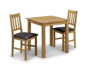 Coxmoor Solid Oak Square Dining Set with 2 Chairs-Dining Sets-Julian Bowen-GoFurn Furniture Store Kent