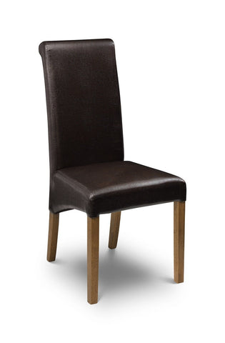 Cuba Espresso Brown Faux Leather with Oak finish legs-Dining Chairs faux leather-Julian Bowen-GoFurn Furniture Store Kent