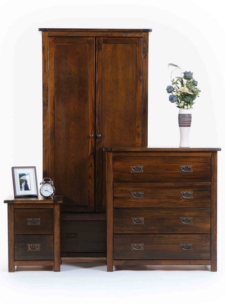 Nepal Petite Narrow Dark Wood Bedside-dark wood small bedside-core products-GoFurn Furniture Store Kent
