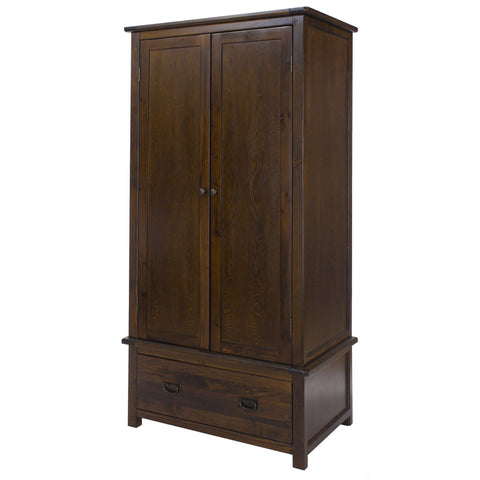 Nepal Dark Wood 2 Door 1 Drawer Wardrobe-Dark Wood Wardrobes-core products-GoFurn Furniture Store Kent