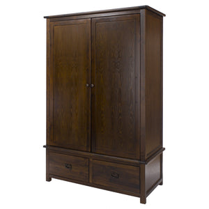 Nepal Dark Wood 2 Door 2 Drawer Wardrobe-Dark Wood Wardrobes-core products-GoFurn Furniture Store Kent