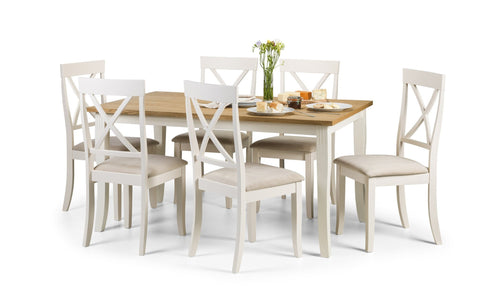 Davenport Dining Set with 6 Chairs White/Oiled Oak Veneer-Dining Sets-Julian Bowen-GoFurn Furniture Store Kent