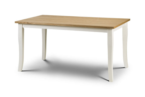 Davenport Dining Table Oak and White-oak & white dining table-Julian Bowen-GoFurn Furniture Store Kent