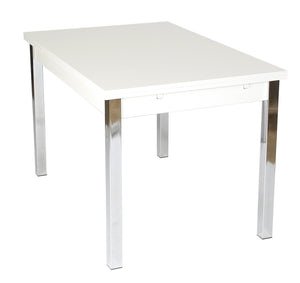 Debecke Large Extending Dining Table White Gloss-large extending white dining table-furniture to go-GoFurn Furniture Store Kent