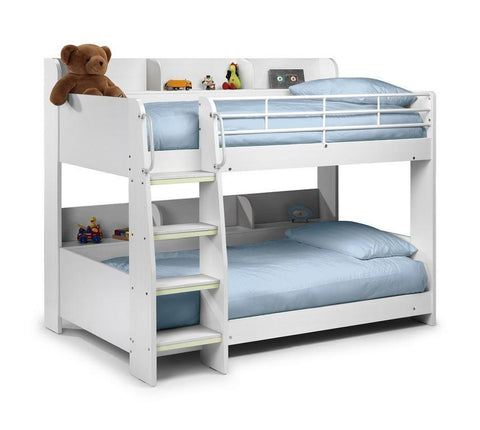 Domino All White Finish Kids Bunk Bed-Childrens Bunk Beds-Julian Bowen-GoFurn Furniture Store Kent