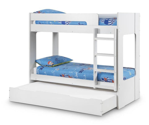 Ellie Bunk Bed in White Finish 2 or 3 Sleeper-White Bunk Beds-Julian Bowen-GoFurn Furniture Store Kent
