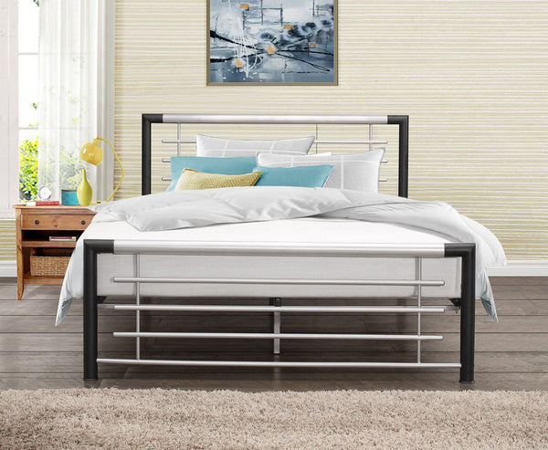 Faro Black & Silver Metal Bed All Sizes From:-metal Beds-birlea-GoFurn Furniture Store Kent