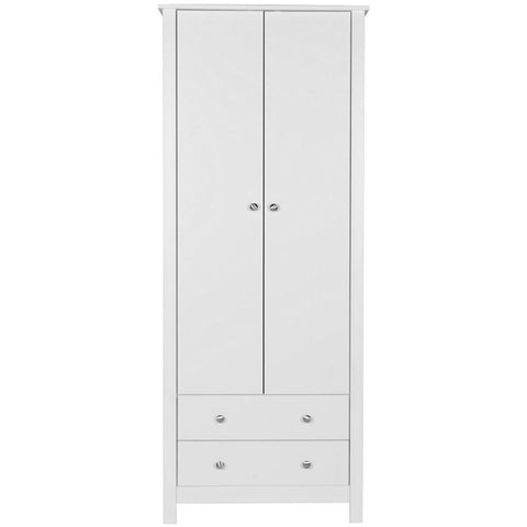 Florence White 2 Door 2 Drawer Wardrobe-White Wardrobes-furniture to go-GoFurn Furniture Store Kent