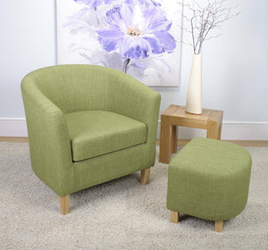 Tub Chair and Stool Lime Green Linen Style Fabric-Green Tub Chairs-shankar-GoFurn Furniture Store Kent