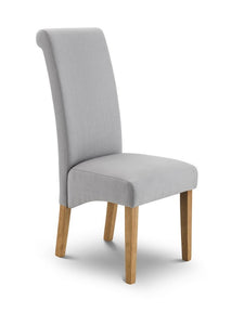 Hadlow Scrollback Grey Dining Chair-Hadlow grey fabric scrollback dining chair-GoFurn-GoFurn Furniture Store Kent