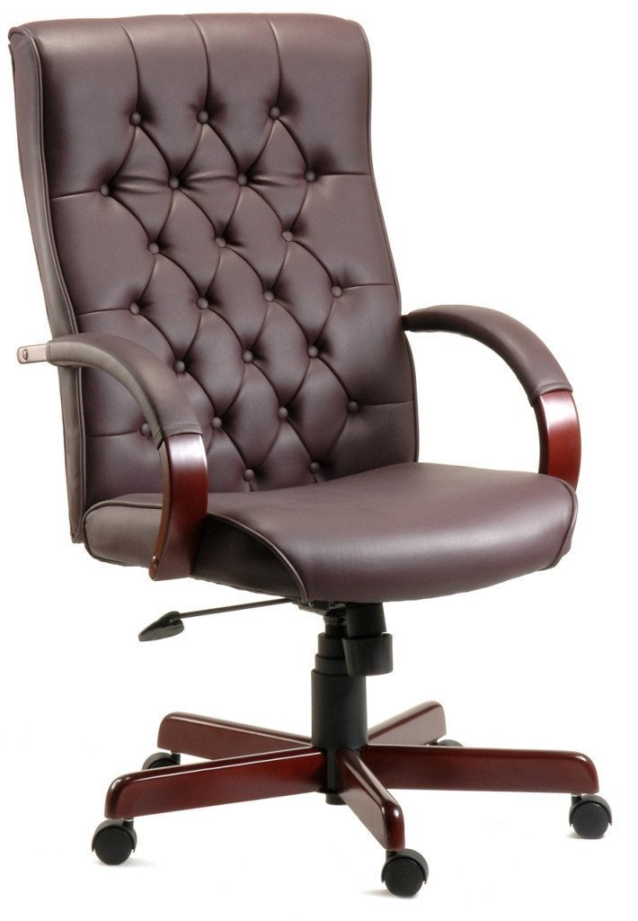 Harvey Executive Office Chair in Burgundy-leather executive office chair-teknik-GoFurn Furniture Store Kent