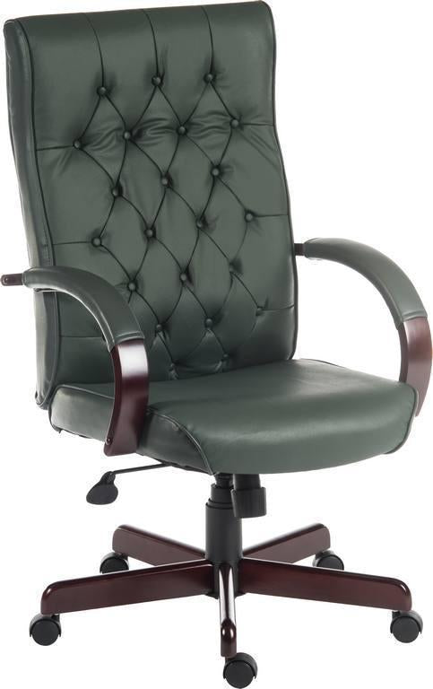 Harvey Executive Office Chair in Green-leather executive office chair green-teknik-GoFurn Furniture Store Kent