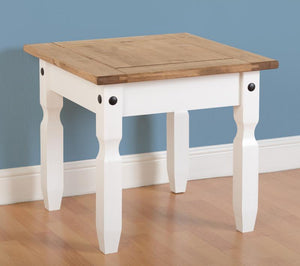 Corona White & Distressed Pine Lamp Table-Corona White & Distressed Pine Lamp Table-Seconique-GoFurn Furniture Store Kent