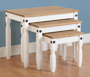 Corona White & Distressed Pine Nest Of Tables-Corona White & Distressed Pine Nest Of Tables-Seconique-GoFurn Furniture Store Kent