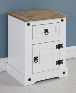 Corona Petite White & Distressed Pine Bedside-Corona Petite White & Distressed Pine Bedside-Seconique-GoFurn Furniture Store Kent