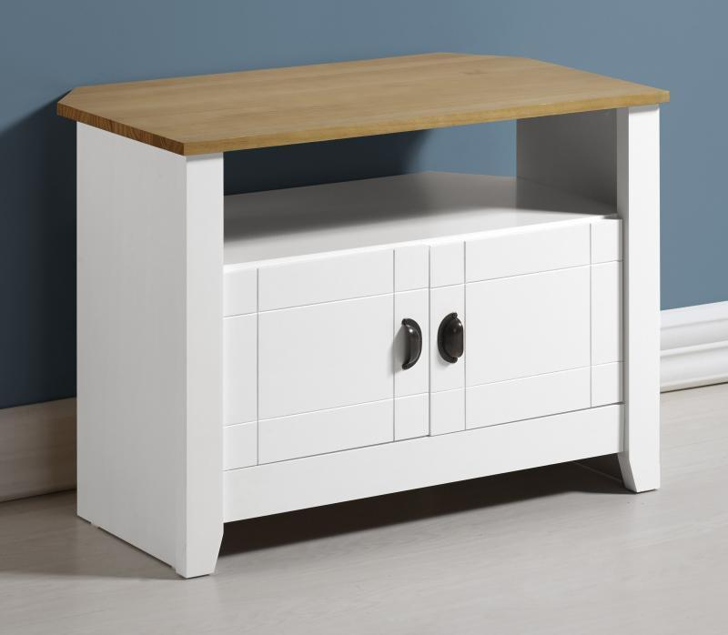 Ludlow TV Unit in White and Solid Pine-Ludlow TV Unit in White and Solid Pine-Julian Bowen-GoFurn Furniture Store Kent